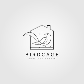 Line art vogelkäfig logo