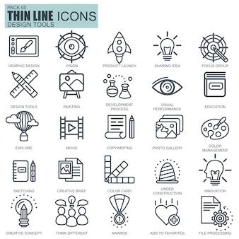 Line-design-tools, kunst und medien icons