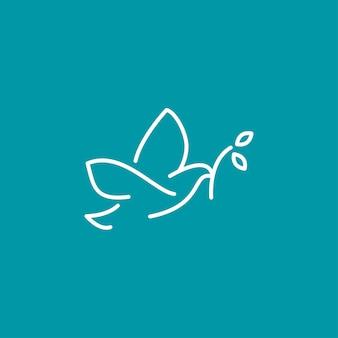 Line flying pigeon bringen leaf stiel logo