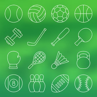 Line icon set sportgeräte in einfachem design sportgeräte vector illustration