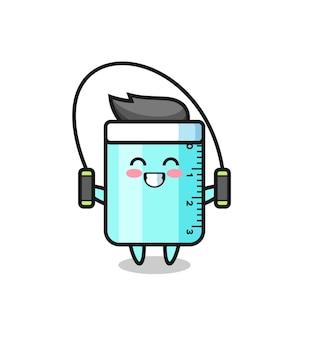 Lineal-charakter-cartoon mit springseil, süßes design für t-shirt, aufkleber, logo-element