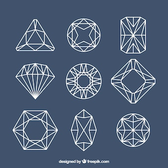 Lineal edelsteine mit verschiedenen designs