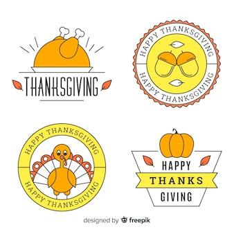 Lineal elemente thanksgiving aufkleber