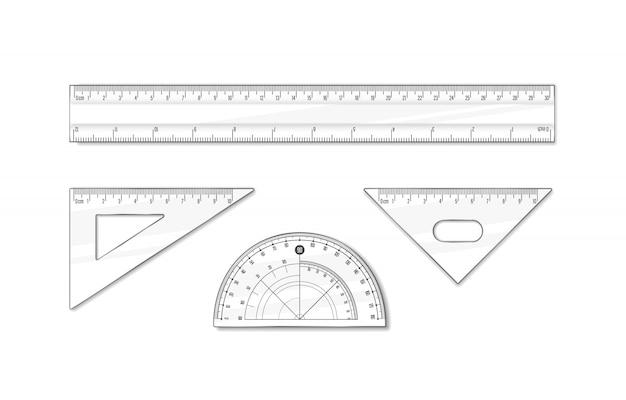 Lineal für schule und büro eingestellt. illustration des geometriemathematik-werkzeugs.
