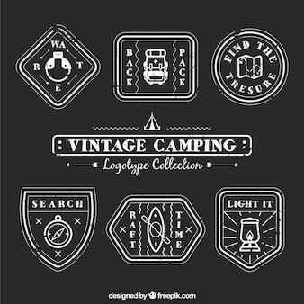 Lineal jahrgang camping logos