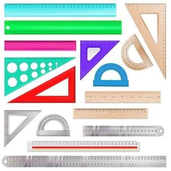 Lineal mathematik messskala werkzeug zur messung der länge illustration winkelmesser winkel ausrüstung linie instrument am schulsatz