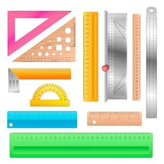 Lineal schule briefpapier mathematik messskala werkzeug zur messung der länge illustration