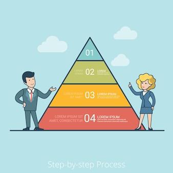 Linear flat businessman und geschäftsfrau präsentieren pyramidendiagramm mit vier ebenen. schritt-für-schritt-prozess im geschäftskonzept.