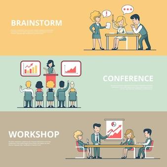 Linear flat businesspeople workshop, analytische konferenz, besprechungsraum brainstorming-konzepte satz von website-heldenbildern. präsentation, geschäftsteam am tisch, arbeitsprozess.