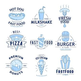 Linear flat fast-food-abzeichen, banner oder logo-emblem.
