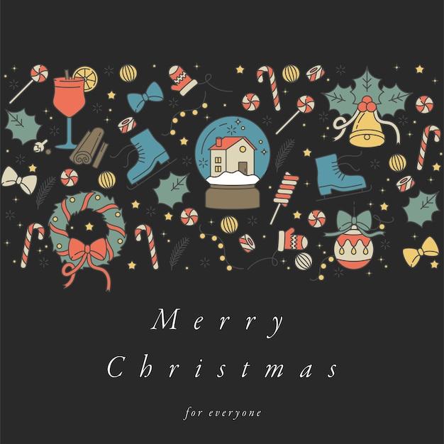 Linear für weihnachtsgrußkarte bunte farbe. t.