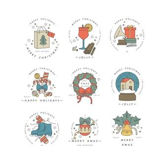 Linear für weihnachtsgrußkarte bunte farbe.