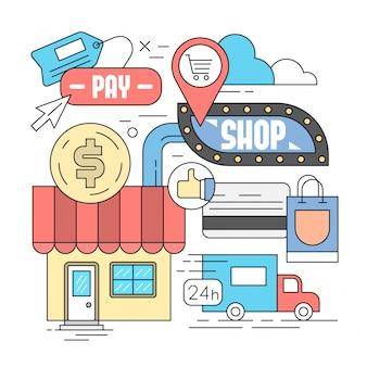 Linear style icons web shop und e-commerce symbole in minimal design Kostenlosen Vektoren