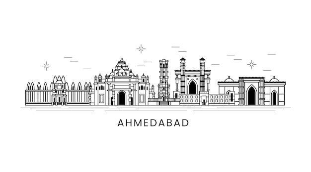 Lineare ahmedabad skyline schwarz und weiß