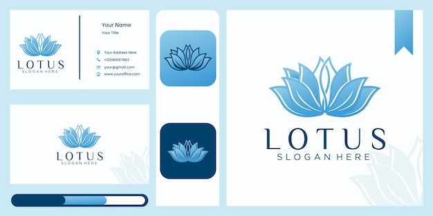 Lineare art lotusblumenlogoschablone und visitenkarte