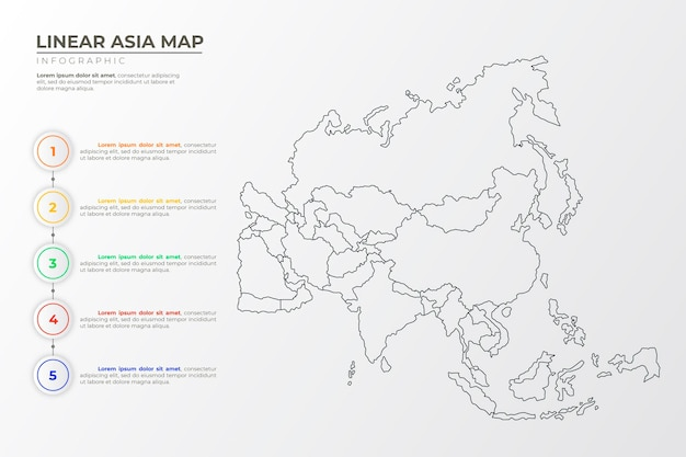 Lineare asienkarte infografik