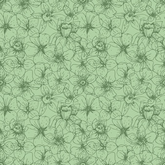 Lineare blumen des natürlichen blumenmusters auf grün