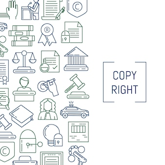 Lineare copyrightelemente art der fahne und des plakats mit platz für text