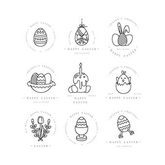 Lineare design-ostergrußelemente auf weißem hintergrund. typografie und symbol für frohe ostern karten, banner oder poster und andere ausdrucke. designelemente für frühlingsferien.