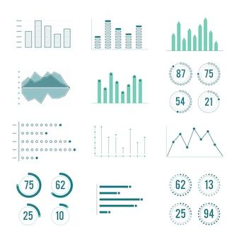 Lineare diagramme, grafiken und fortschrittsbalken