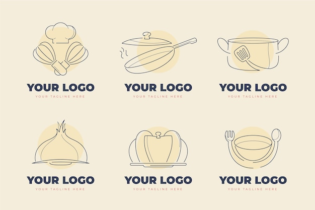 Lineare flache catering-logo-kollektion