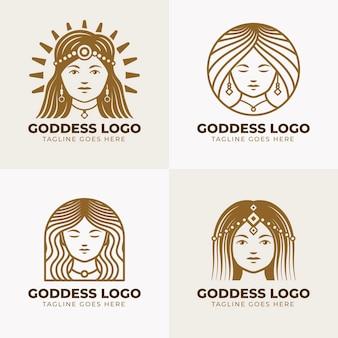 Lineare flache göttin logos pack