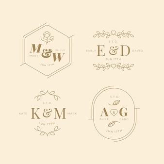 Lineare flache hochzeit monogramme sammlung