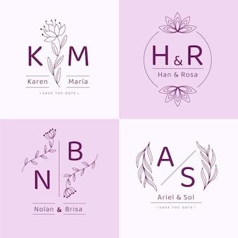 Lineare flache hochzeitsmonogramme/logos