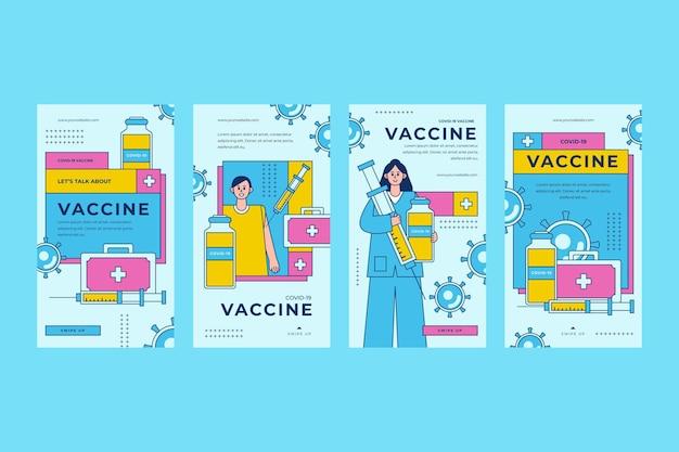 Lineare flache impfstoff instagram geschichten sammlung
