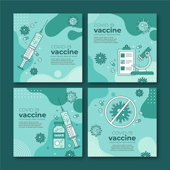 Lineare flache impfstoff-instagram-postsammlung