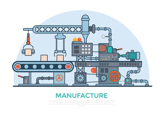 Lineare flache industrielle herstellung fördermaschinenillustration. konzept des produktionsprozesses für geschäftsprodukte.
