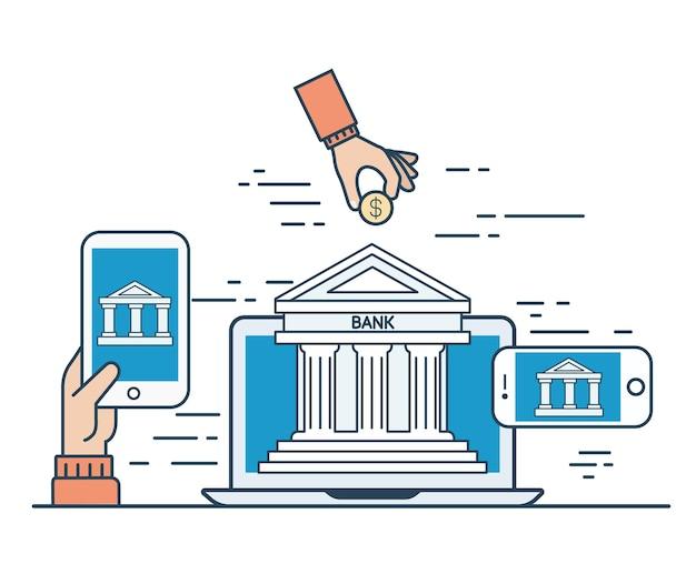 Lineare flache internet-banking-infografiken-vorlage und symbol-website-held-bild-vektor-illustration