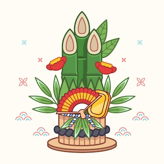 Lineare flache kadomatsu-illustration