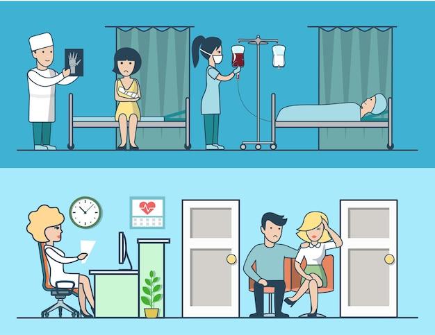 Lineare flache krankenhausklinik vektorraum innenillustration set ärzte und patientencharaktere