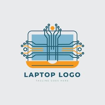 Lineare flache laptop-logo-vorlage