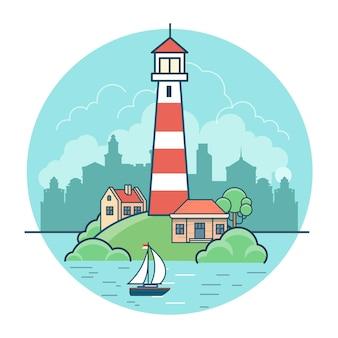 Lineare flache leuchtturm- und häuschenhäuser auf grüner insel auf wasserlandschaft, himmel und stadthintergrund. natur und stadtkonzept.