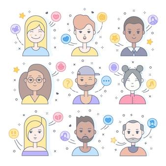 Lineare flache leute stellen ikonensatz gegenüber. social media-avatar, benutzerbilder und profile.