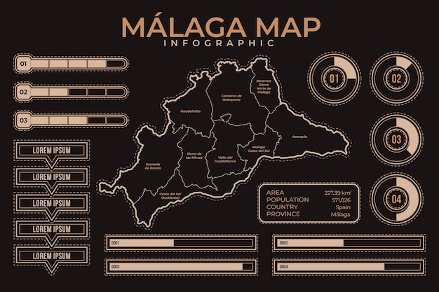 Lineare flache malaga-karte