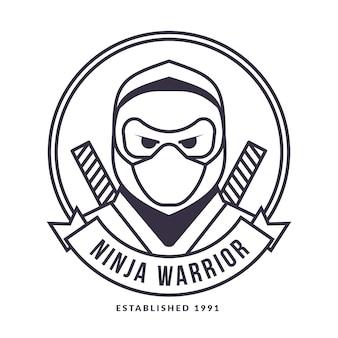 Lineare flache ninja-logo-vorlage