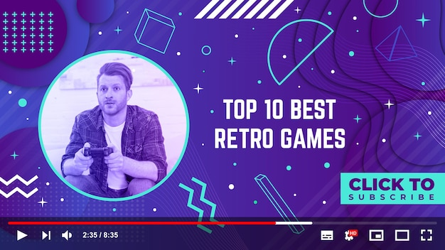 Lineare flache retro gamer youtube thumbnail vorlage