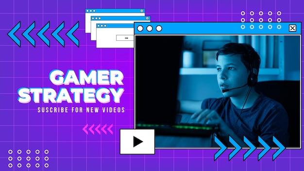 Lineare flache retro gamer youtube thumbnail Kostenlosen Vektoren