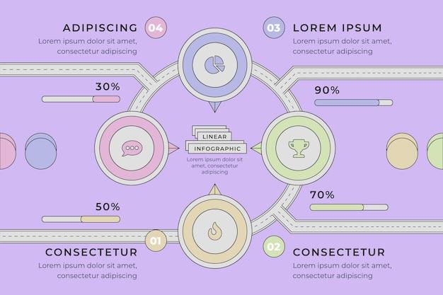 Lineare flache roadmap-infografik-vorlage