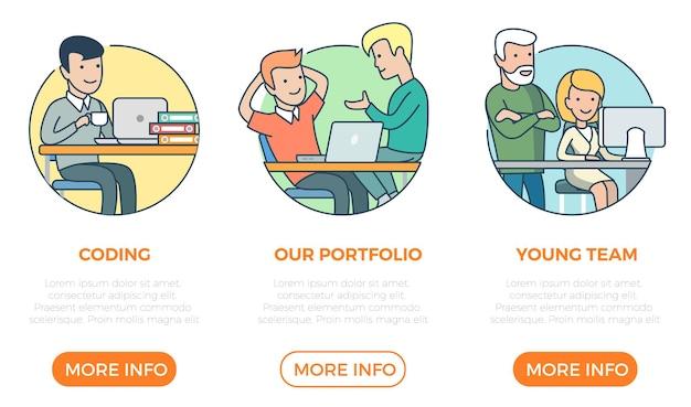 Lineare flache seite webdesign-vorlage infografiken website-symbole dünne linie vektor