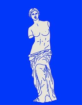Lineare flache skizze der antiken statue der venus von milo in weißer farbe isoliert auf blauem hintergrund