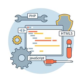 Lineare flache webanwendungscode-illustration. app-entwicklungskonzept. php, javascript, html5, zahnräder, schraubendreher und programmeditor.