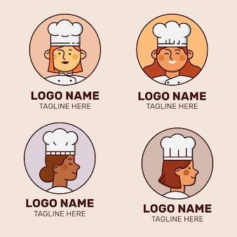 Lineare flache weibliche chefkoch-logo-sammlung