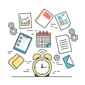 Lineare flache zeitmanagement-infografiken-vorlage und ikonen-website-vektorillustration Kostenlosen Vektoren