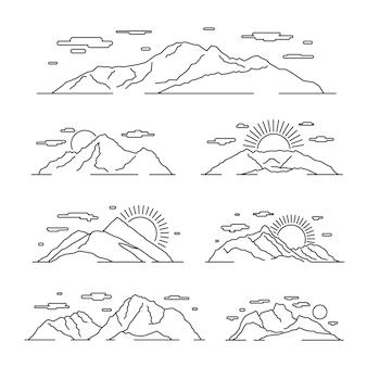 Lineare gebirgsillustration. linie bergalpen landschaftsset. lineare landschaft mit bergfelsen