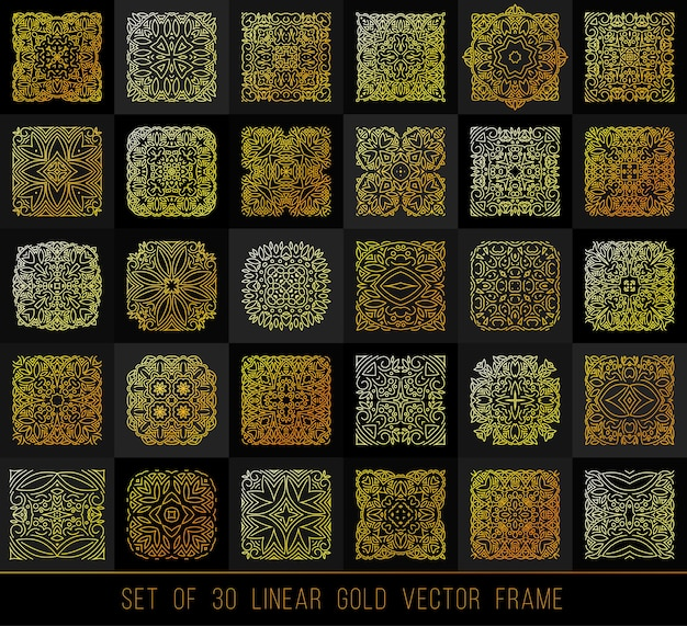 Lineare gestaltungselemente. big set gold ornament für ihr design, flyer, promotion, anwendung.