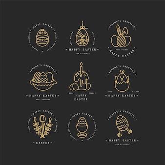 Lineare goldene design-ostergrußelemente. satz typografie ang symbol für frohe ostern karten, banner oder poster und andere ausdrucke. frühlingsferien designelemente.